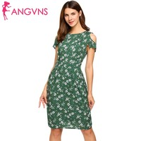 ANGVNS Women Cold Shoulder 2017 Top Summer Dress Vintage Rufflles Short Sleeve Floral Print Casual Dress