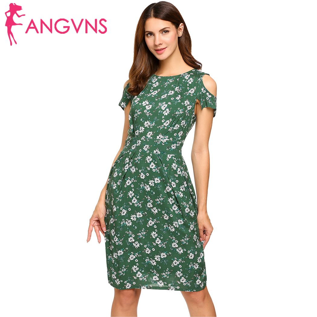 ANGVNS Women Vintage Summer Dress 2018 Top Rufflles Cold Shoulder Short Sleeve Floral Print Casual Dress with Belt Beach Dress