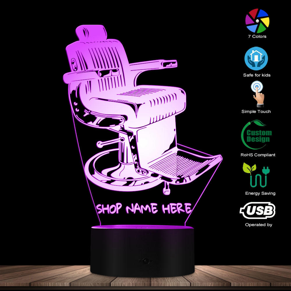 Old Fashioned Barber Shop Chair Design LED Lamp Your Barber Shop Name Personalized 3D Desk Lamp Light Barber Lighting Art Decor