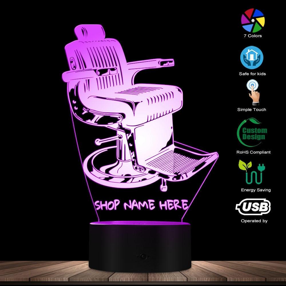 Old Fashioned Barber Shop Chair Design LED Lamp Your Barber Shop Name Personalized 3D Desk Lamp Light Barber Lighting Art Decor