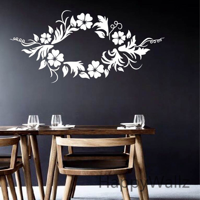 Flower Wall Sticker Beautiful Flower Wines Wall Decal Living Room ...