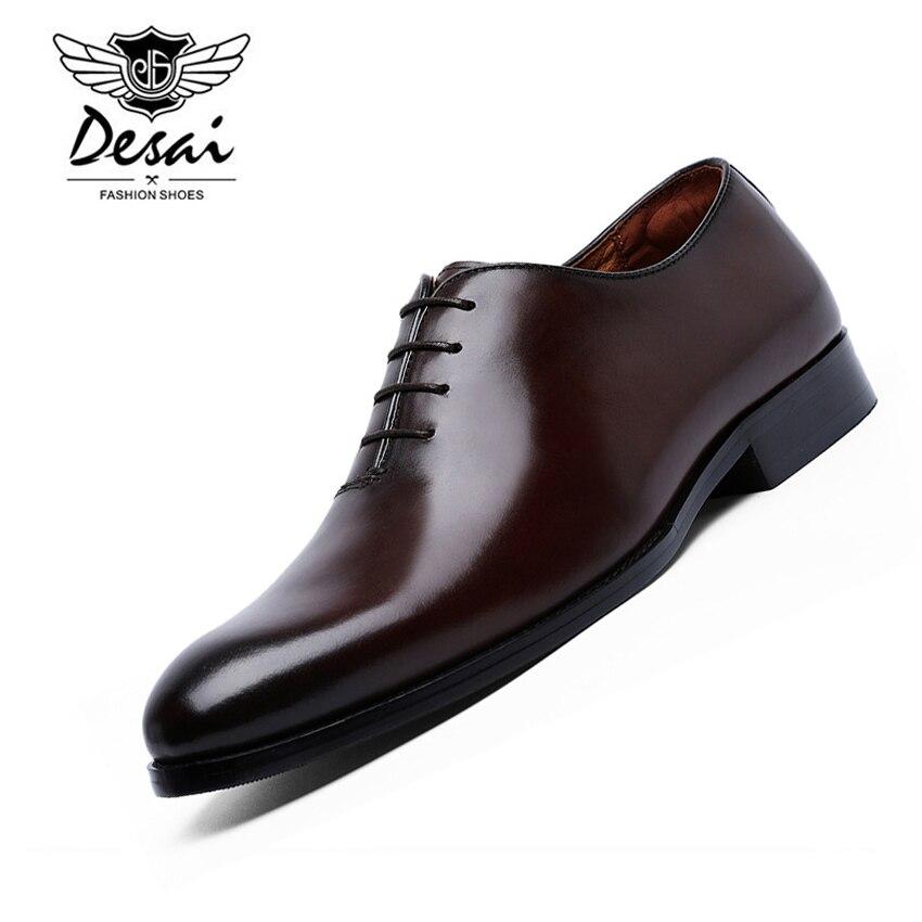 DESAI Brand Men's Business Dress Shoes Comfortable Cow Leather Shoes Classic Retro British Style Formal Shoes Men EU Size 38-47