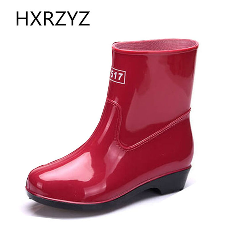 HXRZYZ women rain boots spring/summer ankle PVC boots female 2017 new fashion slip-resistant waterproof women black or red shoes hxrzyz women rain boots spring autumn female ankle boots ladies fashion high top blue and red non slip waterproof women shoes
