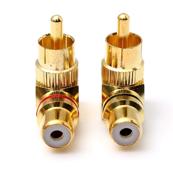 2X Brass RCA Right Angle Connector Plug Adapters Male to Female  90 Degree Red Black plug Wire Connector Best Promotion