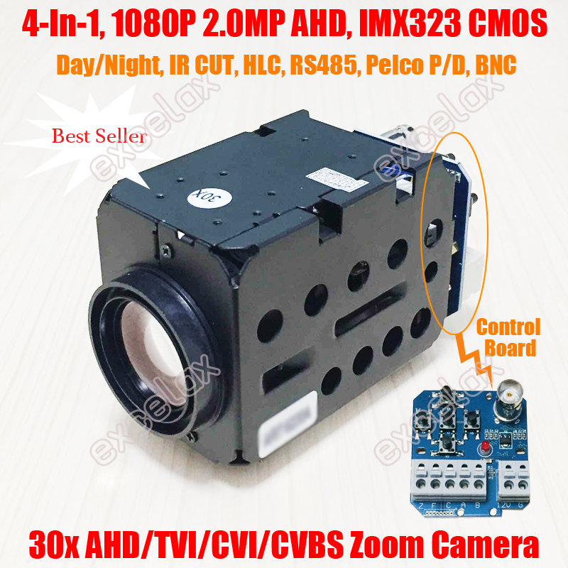 4 In 1 AHD TVI CVI CVBS 1080P 2MP 30x IMX323 CMOS CCTV Zoom Camera Module