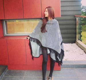 Image 4 - leo anvi fashion blanket scarf winter Women bandana Bohemian Collar Plaid Cape Cloak Jacket Poncho Wool Blend female Shawl