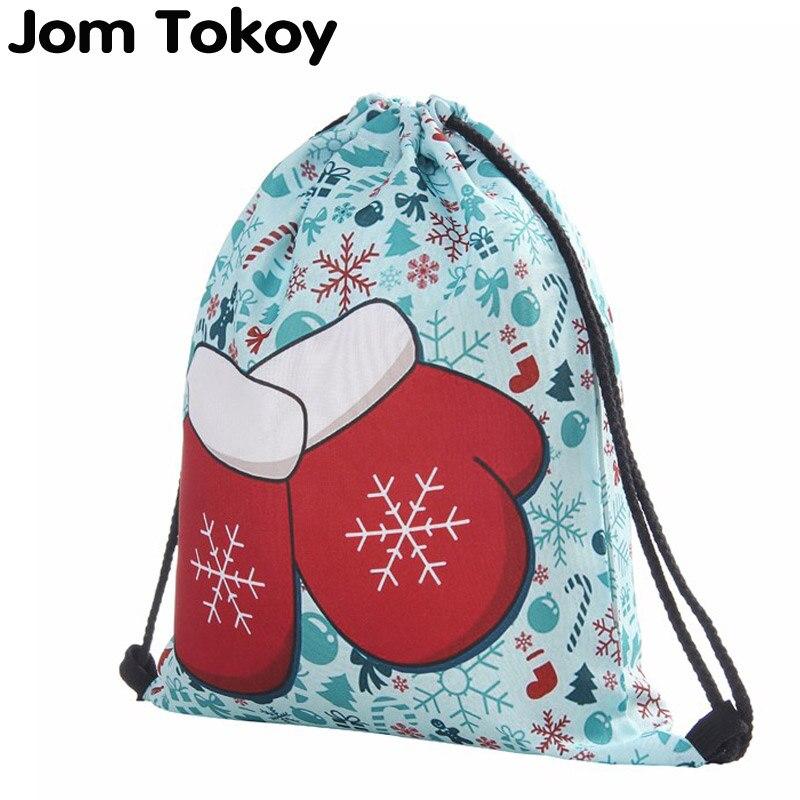 Christmas Gloves 3D Printing Women Classic Forever Brand Mochila Escolar Travel Mochilas Drawstring Bag
