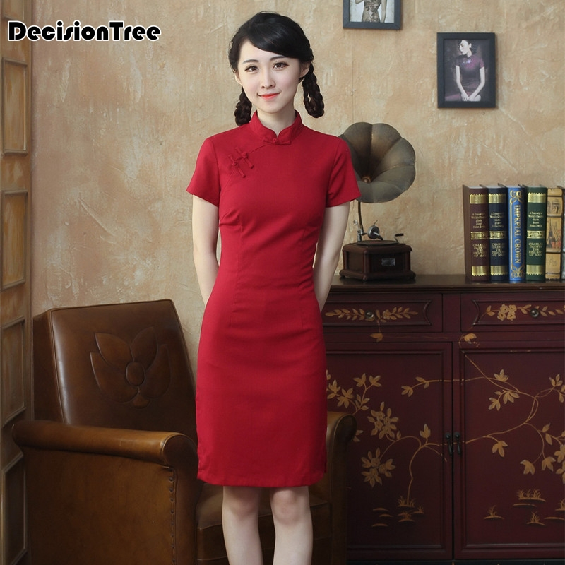 2020 Charming Qipao Traditional Vestido  Chinese Mandarin Collar Cheongsam Short Sleeve Dress Chinese Qipao Dresses