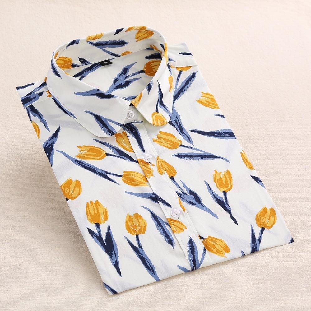 Dioufond Yaz Çiçek Bluz Gömlek Kadınlar Uzun Kollu Pamuk Gömlek - Bayan Giyimi - Fotoğraf 5