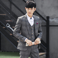Terno homens masculino2016Korean 3-piece suit slim fit ternos business casual xadrez outono ocupação vestido de casamento do noivo terno dos homens