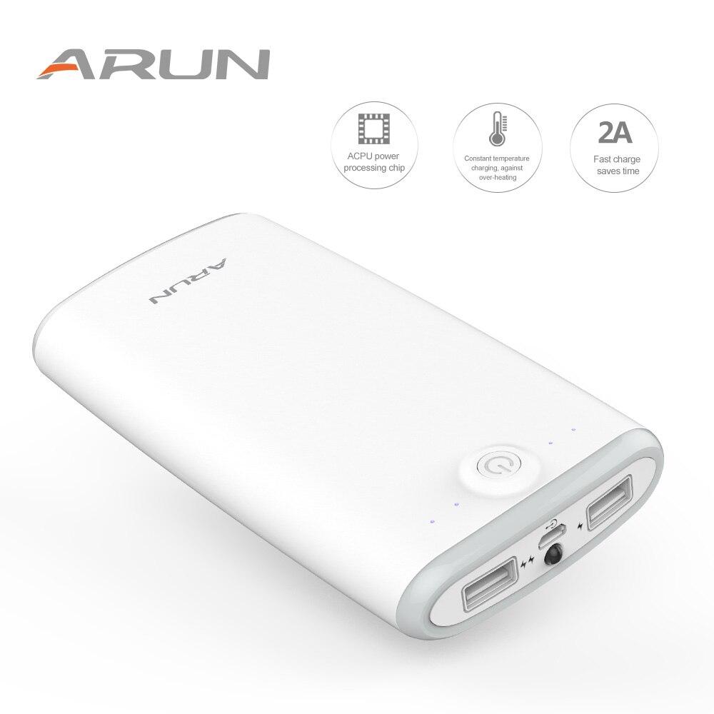 Арун Мощность Bank 20000 мАч Портативный Зарядное устройство Поддержка QC Dual USB с индикатором для iPhone X 8 7 samsung s9 S8Plus Батарея