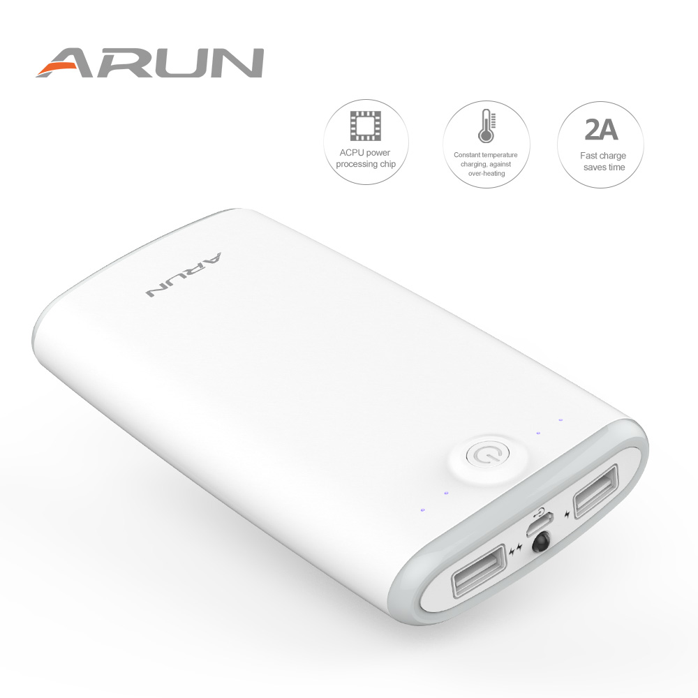 ARUN Power Bank 20000mAh Portable Charger Support QC Dual USB With Indicator light For iPhone X 8 7 Samsung S9 S8Plus Battery