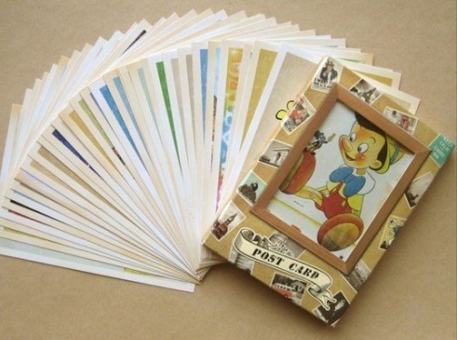 7packs/lot visitenkarten Freies verschiffen! DIY alten speicher cartoon comic post karte set 32 blatt karten pro set gruß karte