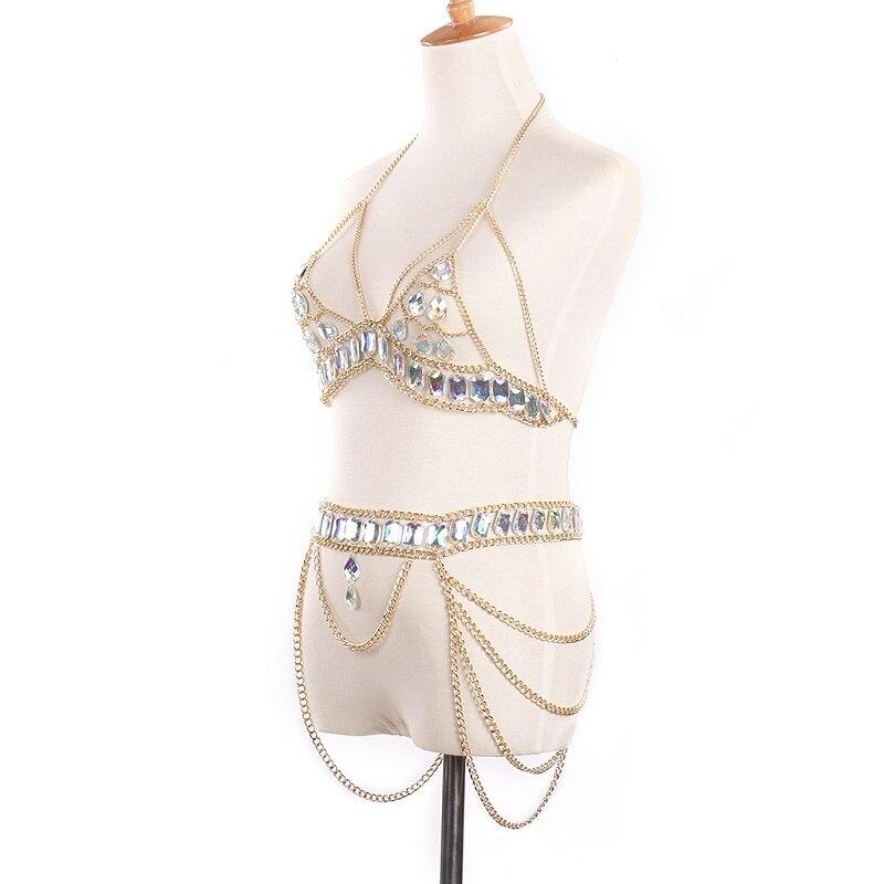 Image 3 - Bikini suit Fashion crystal Sexy Body Necklace Chain Bra Necklace Summer Bohemian luxury bra Women-in Body Jewelry from Jewelry & Accessories