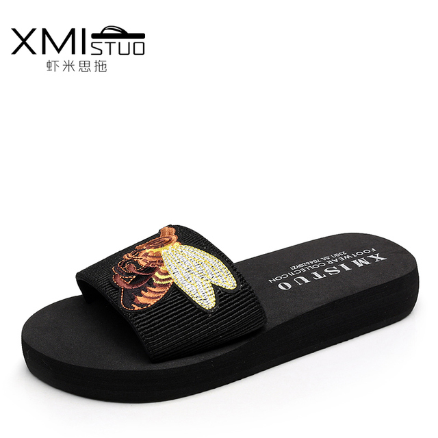 d4f695512 Summer handmade Korean version of the slippers female embroidered bee word  drag cool slope with thick bottom beach slippers