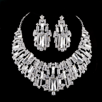 Bridal jewelry sets rhinestone Austrian Crystal wedding party necklace earrings set silver plated Cubic stone Women jewelry