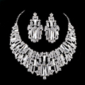 Conjuntos de jóias de noiva strass festa de casamento de Cristal Austríaco colar brincos set Mulheres jóias de prata banhado a pedra Cúbica