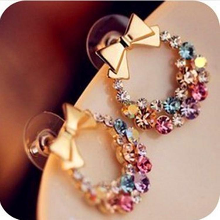 New Fashion Designer Jewelry Colorful Rhinestone Imitation Pearl Butterfly Bow Stud Earrings For Women Brincos 5g