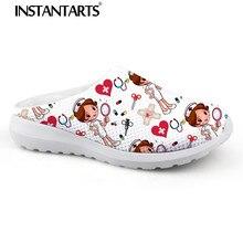 INSTANTARTS/женские пляжные домашние тапочки; модная обувь для медсестры; сандалии для медсестер; женские летние сетчатые сандалии на плоской подошве; Sandalias Mujer Girl