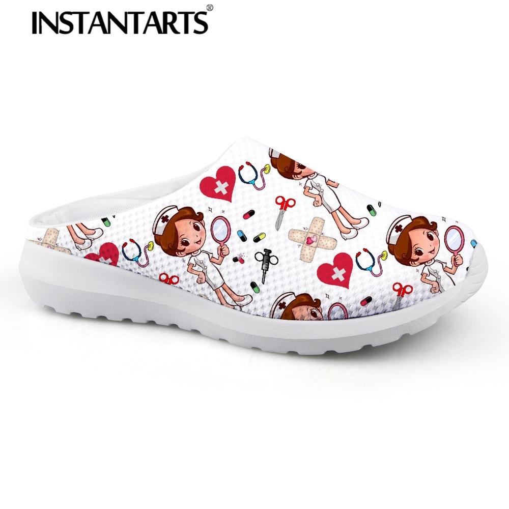 INSTANTARTS Women Beach Home Slippers Fashion Nurse Shoes Medical Doctor Sandals Female Summer Mesh Flats Sandalias