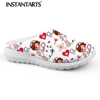 INSTANTARTS Women Beach Home Slippers Fashion Nurse Shoes Medical Doctor Sandals Female Summer Mesh Flats Sandalias Mujer Girl