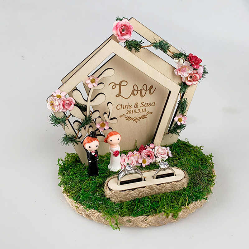 Personalized Wooden Flower Box Ring Bearer Pillow Rustic Wedding Ring Holder Box Proposal Engagement Gift Party Diy Decorations Aliexpress