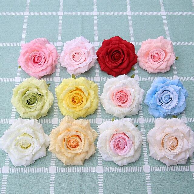50 teile/los Günstige Silk Rose Heads Real Touch Künstliche Blume für Braut Bouquet Rrist Zubehör Hochzeit Marriag Auto Decor