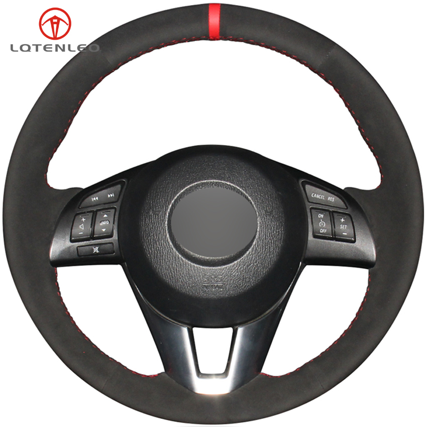 LQTENLEO Black Suede Car Steering Wheel Cover For Mazda 3 Axela 2013 2016 Mazda 2 Mazda