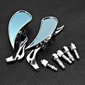 Rambowill Universal Motorcycle Chrome Flame Rearview Mirrors Bike Chopper Blade Teardrop Side Rear View Mirrors for Cruisers
