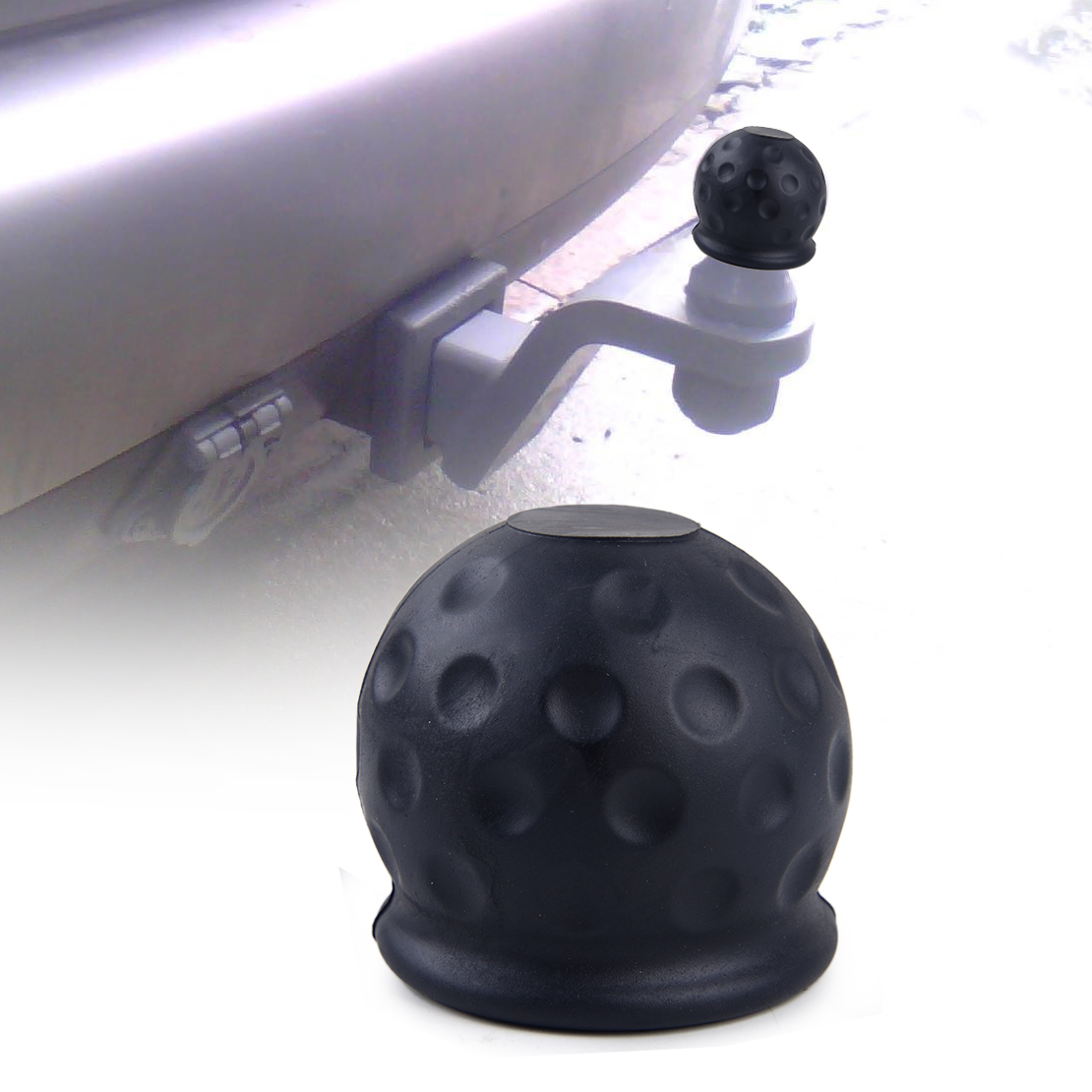 DWCX Rubber Black 50mm Tow Ball Towball Protector Cover Cap Hitch Caravan Trailer ...