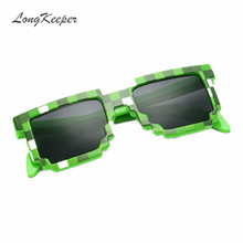 2016 Hot Kids Sunglasses Mosaics Minecraft Style Sunglasses  4-13 Years Square Children Sun Glasses Boys Girls Pixel Eyewares