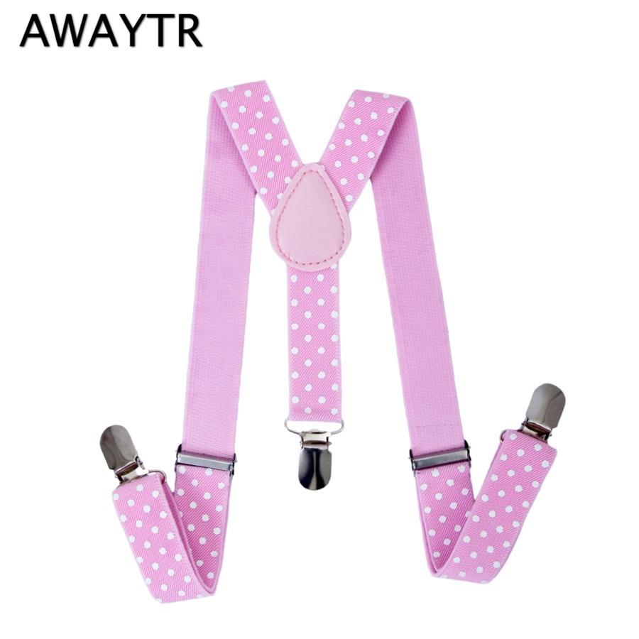 AWAYTR Fashion Children Straps 2.5 Cm Width Suspenders For Kids Dot Elastic Braces High Quality Clothing Support School