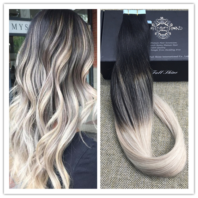 Full Shine Blonde Ombre Tape in Hair Extensions Balayage Color 16B ...