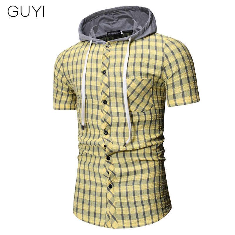 GUYI ブルー黄色のチェック柄フード付きシャツ男性半袖シングルブレスト巾着ブラウスカジュアルスポーツプレッピースタイルのストリートシャツ