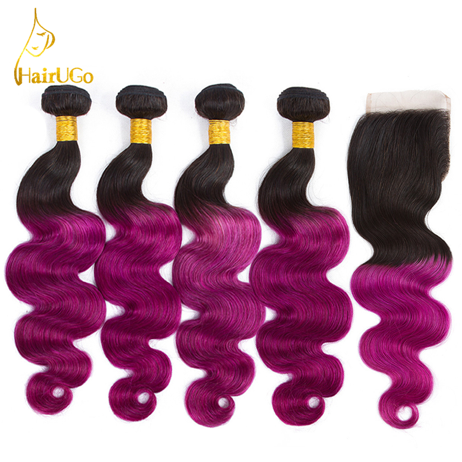 HairUGo волос предварительно Цветной Малайзия объемная волна-Волосы remy Omber человеческих волос блондинка 4 Связки с закрытием волос # 1b/фиолетов...
