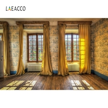 Laeacco Golden Curtain Wood Floor Vintage Portrait Photography Backgrounds Customized Photographic Backdrops for Photo Studio