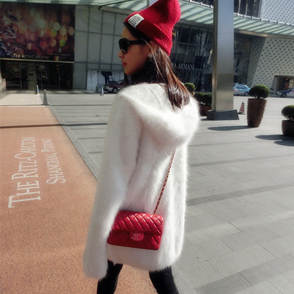 Women's long plush mink cashmere sweater coat female with hooded cardigan free shipping real Mink Cashmere Jacket wsr290