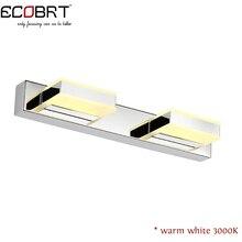 ECOBRT Современные СВЕТОДИОДНЫЕ Зеркало Лампа 2-lights в ванной комнате 8 Вт Бра Настенное Светильник Из Нержавеющей Стали 32 см Долго