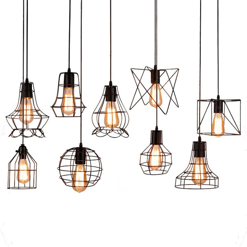 9 Styles Modern Iron Cage Pendant Light Retro Concise Adjustable Pendant Lamp Metal Hanging Lamp Use For E27 Bulbs Indoor