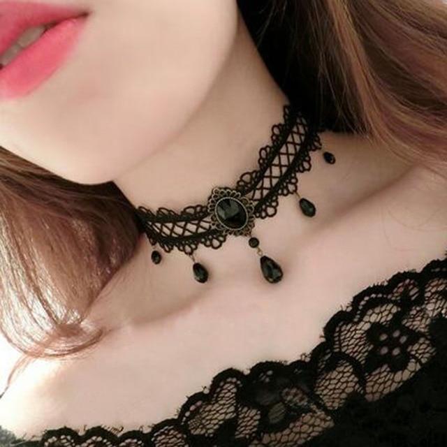 Chokers Black Flower Rhinestone Choker Necklace Women Bijoux Fashion velvet choker Jewelry Accessories C59