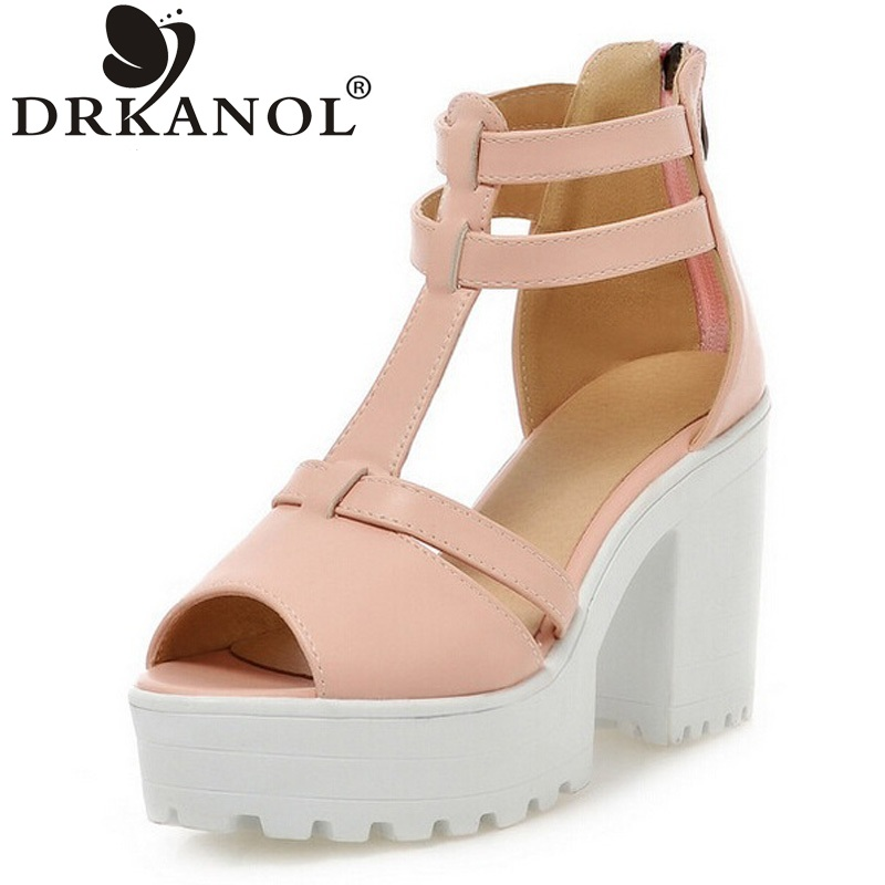 DRKANOL Thick Heel Sandals Women Gladiator Sandal High Heels Fashion Open Toe Summer Shoes Women Platform Sandals Plus Size 43