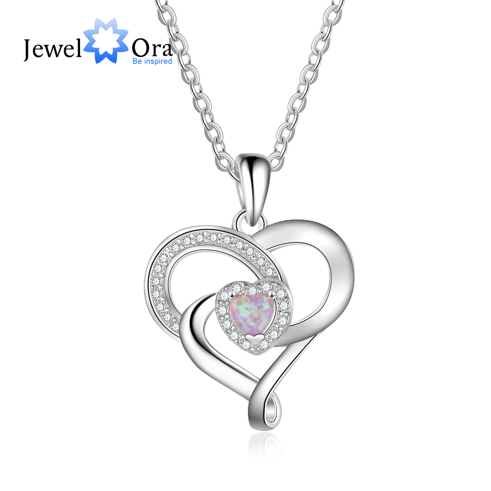 Heart Design Pink Opal Stone Necklaces & Pendants For Women 925 Sterling Silver Party Jewelry (JewelOra NE103157)Heart Design Pink Opal Stone Necklaces & Pendants For Women 925 Sterling Silver Party Jewelry (JewelOra NE103157)