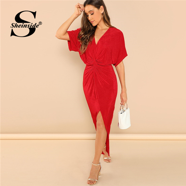 5c19c46a5c5 Sheinside Red Twist Front V Neck Solid Dress Women Short Batwing Sleeve  Long Party Dresses Ladies