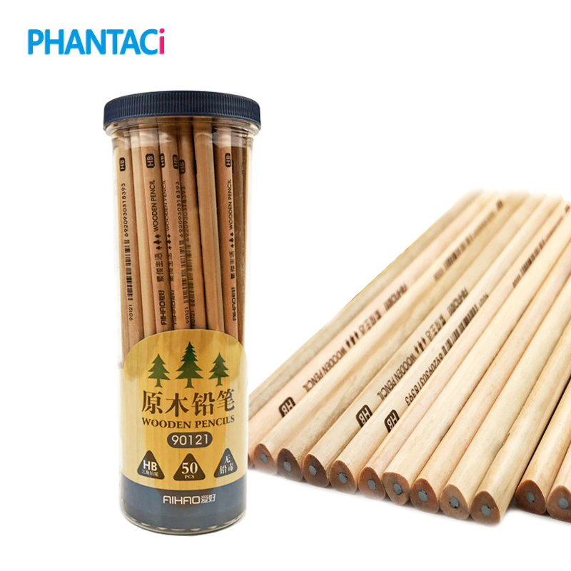 50 pcs/box HB Standard Pencil Set For Kids Non-toxic Crude Wood Pencils For School Student Brand Stationery Drawing Writing 12pcs candy color cute pencil hb 2b school stationery store student kids triangle graphite drawing sketch wood pen office supply