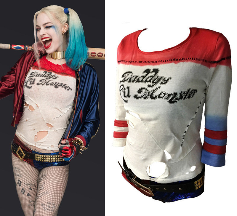 Halloween Movie Harley Quinn Costume T-Shirt Daddy's Lil Monster T-Shirt Cosplay Costumes With Hole Fashion Women's Clothing