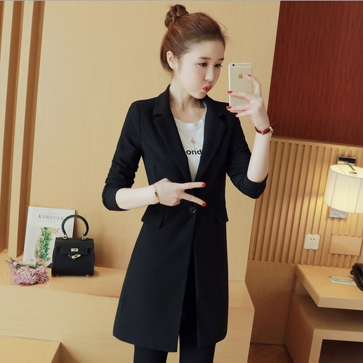 Cardigan Femme Noir Coréen Costume Blazer Long Printemps Veste Longue Automne Femmes Slim Manteau Pour Travail Style 4OEZxnq