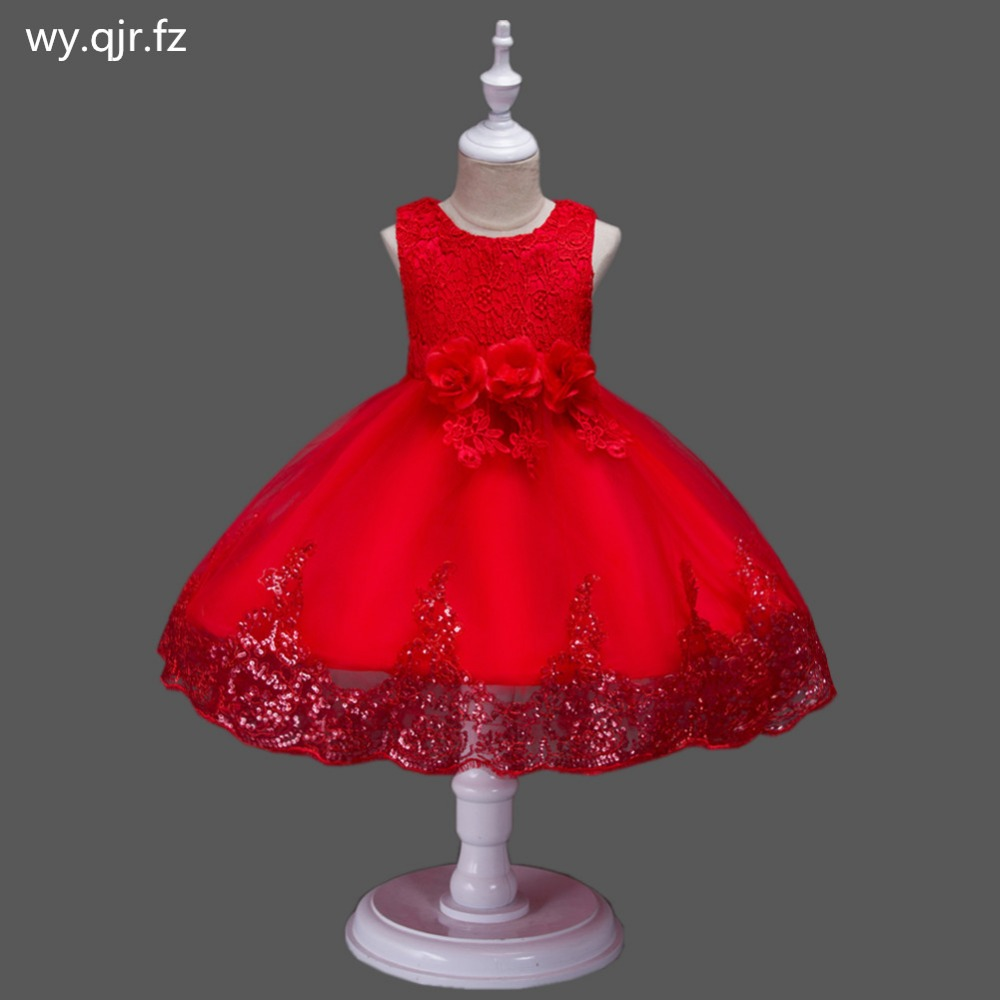 BH575#Ball Gown Rose red   Flower     girl     dress   lace Children's performance   dress   Small host costumes Children's garments wholesale