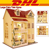 2017 New LED 3D Wooden Model Miniatures Three Layers Large Doll House Furniture DIY Toys For Children Music Box Christmas Gift