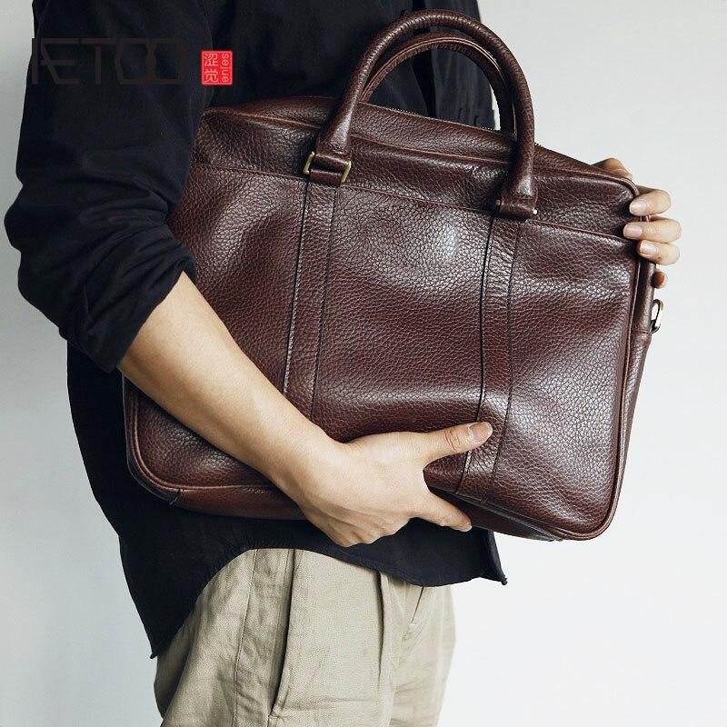 AETOO Mens full leather handbag leather briefcase simple fashion cowhide computer bagAETOO Mens full leather handbag leather briefcase simple fashion cowhide computer bag