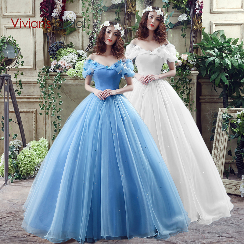 Cinderella Wedding: Movie Deluxe Adult Cinderella Wedding Dresses Blue